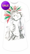 FINAL SALE! Aztec Girl Rock Burnout Print Long Plus Size T-Shirt M L XL 2XL