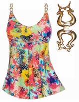 CLEARANCE! Babydoll Style Plus Size Supersize Swim Tank in Multicolor Painted Floral Print 0x