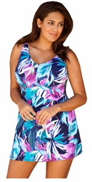 COMING SOON! Beach Belle Navy Leafy Floral V Neck Swimdress Size
