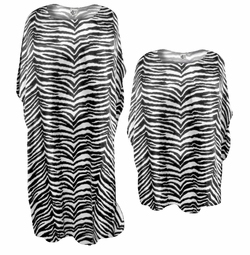 NEW! Beautiful Black & White Tiger Stripes Print Poly/Satin Plus Size & Supersize Caftan Dress or Shirt 1x to 6x
