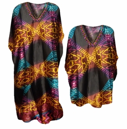 SALE! Beautiful Multicolor Tribal Print Poly/Satin Plus Size & Supersize Caftan Dress or Shirt 1x to 6x