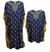 SALE! Beautiful Navy Blue Ornate Print Glittery Neckline Poly/Satin Plus Size & Supersize Caftan Dress or Shirt 1x to 6x