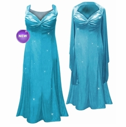 NEW! Beautiful Turquoise Glittery Satin 2 Piece Plus Size SuperSize Princess Seam Dress Set 0x 1x 2x 3x 4x 5x 6x 7x 8x 9x