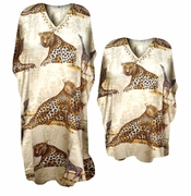 SALE! Beautiful Wild Safari Leopard and Giraffe Print Poly/Satin Plus Size & Supersize Caftan Dress or Shirt 1x to 6x