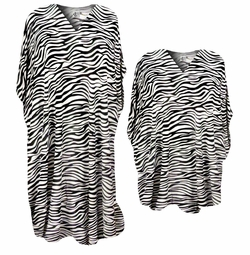 Beautiful Zebra Stripes Animal Print Poly/Satin Plus Size & Supersize Caftan Dress or Shirt 1x to 6x