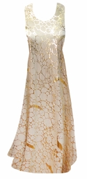 Beige With Gold Metallic Shiny Slinky Print Princess Cut Slinky Plus Size Tank Dress 1x 2x 3x 4x 5x 6x 7x 8x 9x