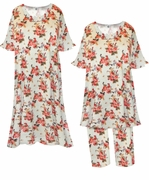 SOLD OUT! SALE!  Light Beige With Salmon Red Roses Floral Print Plus Size Supersize Moo Moo Dress or Top & Pant Lounge Set 0x 1x 2x 3x 4x 5x 6x 7x 8x 9x