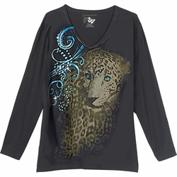 SALE! Just Reduced! Bejeweled Cheetah Glittery Plus Size Long Sleeve T-Shirt 4x