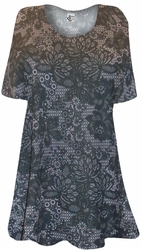 NEW! Black Lace Flower Netting Print Supersize Extra Long T-Shirts 0x 1x 2x 3x 4x 5x 6x 7x 8x 9x Customizable!