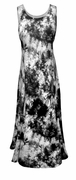 SALE! Black and Light Gray Tie Dye Poly Cotton Print Plus Size Princess Cut Tank Dresses 1x 2x 3x 4x 5x 6x 7x 8x
