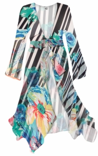 NEW! Customize Black and White Striped Floral Sheer Blouse Swimsuit Coverup Plus Size & Supersize 0x 1x 2x 3x 4x 5x 6x 7x 8x