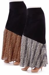NEW! Black & Charcoal Gray or Brown Leopard Half Print Plus Size Maxi Skirt 4x 5x 6x