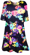 CLEARANCE! Black Colorful Floral Plus Size & Supersize Extra Long T-Shirt 4x