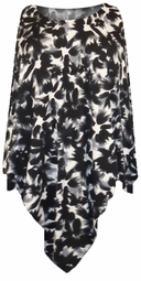 SOLD OUT! Black & Gray Abstract Floral Slinky Print Plus Size Supersize Poncho