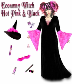 SALE! Economy Black & Hot Pink Plus Size Witch Costume & Accessories - Halloween Kit S-XL & 1x-9x