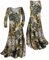 Customize Black Lace Leopard Yellow Print Slinky Plus Size & Supersize Standard or Cascading A-Line or Princess Cut Dresses & Shirts, Jackets, Pants, Palazzo's or Skirts Lg to 9x
