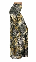 Black Lace Yellow Leopard Print Slinky Special Order Customizable Plus Size & Supersize Pants, Capri's, Palazzos or Skirts! Lg to 9x