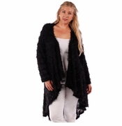 SOLD OUT! SALE! Black Striped Mohair Cardigan Jacket Plus Size 4x
