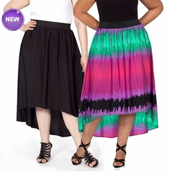 SALE! Black or Multicolor Plus Moda Women's Plus-Size Hi-Low Woven Plus Size Maxi Skirt 4x