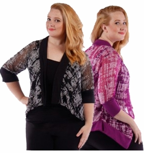 SALE! Black or Purple Print Semi Sheer Half Sleeve Cardigan Coverup Plus Size 4x 5x 6x