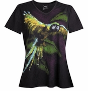 SALE! Black Parrot McCaw Tropical Glittery Plus Size T-Shirt 4x 5x