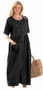 NEW! Black Petite Button Front Empire Denim Plus Size Dress 2x/28WP 3x/30WP