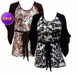 FINAL SALE! Just Reduced! Black or Brown & Bronze Animal Print Flutter Sleeve Jersey Plus Size Belted Tops 4x 5x 6x