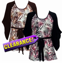 SALE! Black & Pink / Brown & Bronze Animal Print Flutter Sleeve Jersey Plus Size Belted Tops 4x 5x 6x