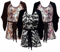 SALE! Black & White, Pink or Brown & Bronze Animal Plus Size & Supersize Flutter Sleeve Jersey Plus Size Belted Tops 4x 5x