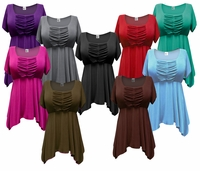 SALE! Black. Brown, Charcoal Gray, Olive, Teal, Purple, Pink or Red Babydoll Plus Size Supersize Cotton Blend Jersey Tops 4x 5x