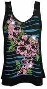 NEW! Black Stripes Glittery Floral Plus Size Tank Top 1x 2x 3x 4x 5x
