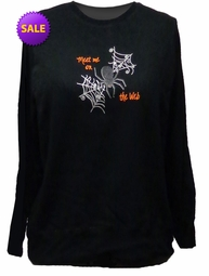 FINAL SALE! Just Reduced! Black Sweatshirt Meet Me On The Web Plus Size 2x