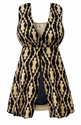 NEW! Black & Tan Geometric Print One-Piece Swimsuit with Flyaway Front Plus Size & SuperSize 0x to 8x