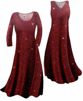 NEW! Customize Black w/Red Zig Zag Glitter Slinky Print Plus Size & Supersize Standard or Cascading A-Line or Princess Cut Dresses & Shirts, Jackets, Pants, Palazzo's or Skirts Lg to 9x