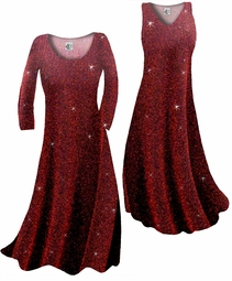 Customize Black w/Red Zig Zag Glitter Slinky Print Plus Size & Supersize Standard or Cascading A-Line or Princess Cut Dresses & Shirts, Jackets, Pants, Palazzo's or Skirts Lg to 9x