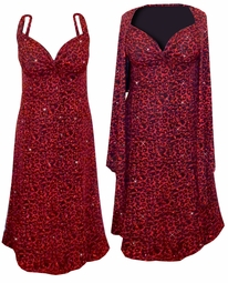 Black w/Ruby Leopard Glitter Slinky 2 Piece Plus Size SuperSize Princess Seam Dress Set 0x 1x 2x 3x 4x 5x 6x 7x 8x 9x