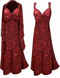 Black w/Ruby Red Leopard Glitter Slinky 2 Piece Plus Size SuperSize Princess Seam Dress Set 0x 1x 2x 3x 4x 5x 6x 7x 8x 9x