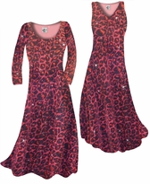 Customizable Black w/Ruby Leopard Glitter Slinky Print Plus Size & Supersize Standard or Cascading A-Line or Princess Cut Dresses & Shirts, Jackets, Pants, Palazzo's or Skirts Lg to 9x