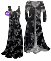 Customizable Black w/Silver Daisies Glitter Slinky Plus Size & Supersize Standard or Cascading A-Line or Princess Cut Dresses & Shirts, Jackets, Pants, Palazzo's or Skirts Lg to 9x