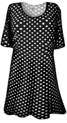 SOLD OUT! SALE! Black & White Polka Dot Print Plus Size & Supersize Extra Long T-Shirts 3x