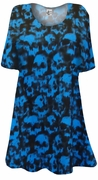 SALE! Black With Blue Skulls Tie dye Print Supersize Extra Long T-Shirts 4x