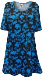 NEW! Black With Blue Skulls Tie dye Print Supersize Extra Long T-Shirts 3x 4x 5x 8x