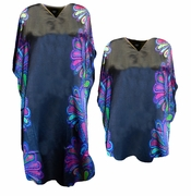 NEW! Black With Purple Abstract Border Print Plus Size & Supersize Caftan Dress or Shirt 1x to 6x