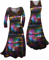 NEW! Black With Rainbow Rows Metallic Shiny Slinky Print Plus Size & Supersize Standard or Cascading A-Line Dresses & Shirts, Jackets, Pants, Palazzo's or Skirts Lg to 9x