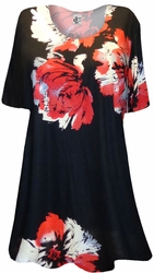 SALE! Black With Red Big Flowers Print Supersize Extra Long T-Shirts 4x6x