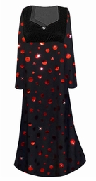 Black with Red Metallic Circles Empire Waist Plus Size Dress With Rhinestone Detail Lg-8x