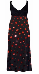Black with Red Metallic Circles Slinky Print Black Empire Waist Dress add Matching Wrap 0x 1x 2x 3x 4x 5x 6x 7x 8x