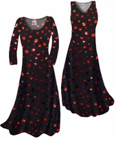 Customizable Black With Red Metallic Circles Slinky Print Plus Size & Supersize Standard or Cascading A-Line or Princess Cut Dresses & Shirts, Jackets, Pants, Palazzo's or Skirts Lg to 9x
