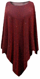 Black with Red Zig Zag Slinky Print Plus Size Supersize Poncho