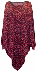 Black with Ruby Leopard Glitter Slinky Print Plus Size Supersize Poncho